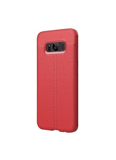 Microsonic Samsung Galaxy S8 Plus Kılıf Deri Dokulu Silikon  Kırmızı